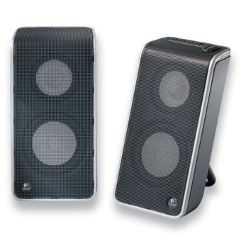 Logitech V20 USB Portable Speakers USB Powered Speakers - no PSU required! Includes carry case and media control btns