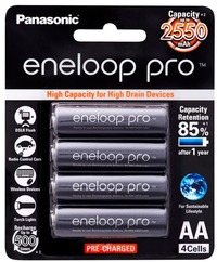 Panasonic Eneloop PRO AA 2500mAh Rechargeable Batteries - 4 Pack