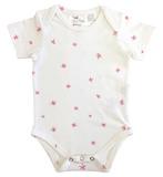 Babu: Envelope Neck Short Sleeve Bodysuit - Pink Stars (6-12 months)