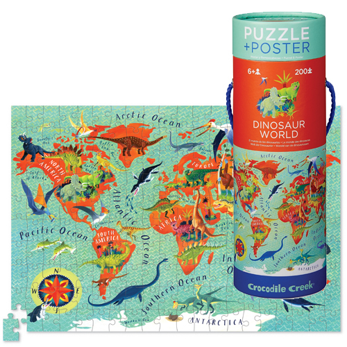Crocodile Creek: Puzzle & Poster Set - Dinosaur World
