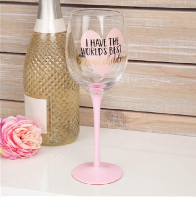 Wine Glass: World's Best Grandchildren (Large)