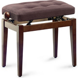 Stagg Chesterfield Velvet Piano Bench (Walnut)