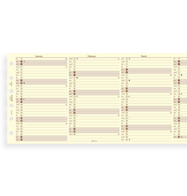Filofax: Pocket 2021 Refill - Year Planner - Cotton Cream (Vertical)