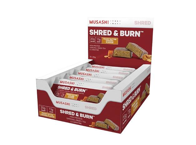 Musashi Shred & Burn Protein Bars - Peanut Butter Caramel (12x60g)