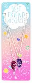 B F Necklace Pink/Purple Split Heart