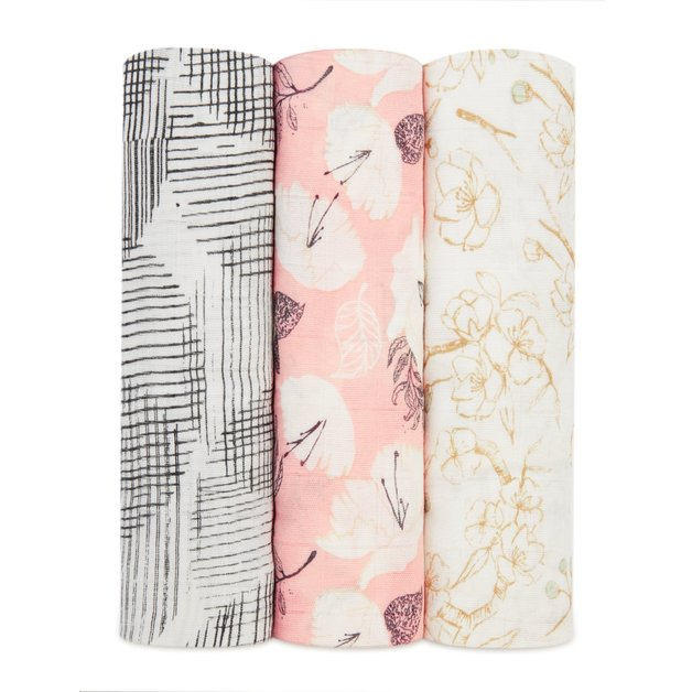 Aden + Anais: Silky Soft Bamboo Swaddle - Pretty Petals (3 Pack)
