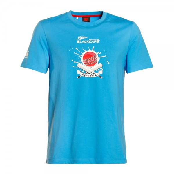 Black Caps Supporters Tee - Azure Blue