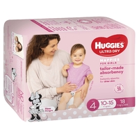Huggies Ultra Dry Nappies - Size 4 Toddler Girl (18) image