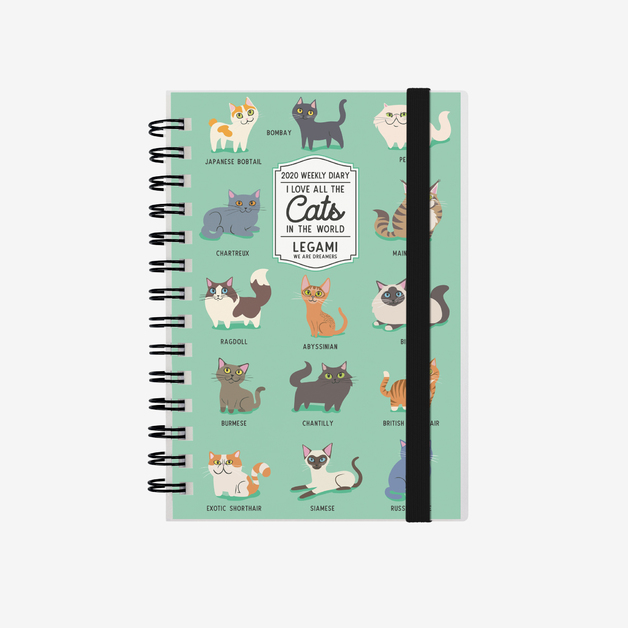 Legami: Small Weekly 12 Month 2020 Diary Spiral Bound - Cats