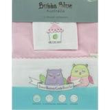 Bubba Blue: 3pc Bassinet Sheet Set - Pink Owl