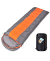 High Quality Envelope Hooded Sleeping Bag with Carry Bag - Orange/Dark Grey