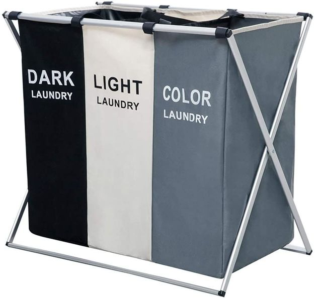 Triple Folding Fabric Laundry Basket