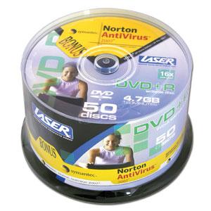 LASER DVD+R 50Pk on Spindle with Norton AntiVirus white inkjet printable image