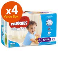 Huggies Ultra Dry Nappies Bulk Value Box - Size 4 Toddler Boy (144)