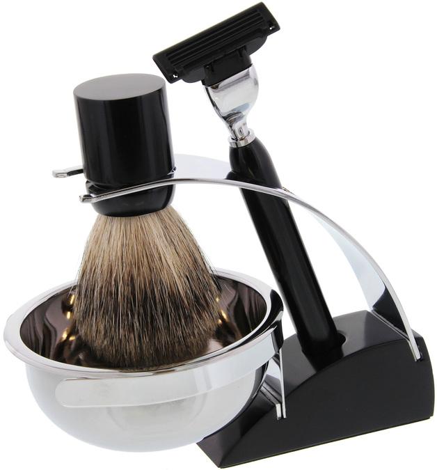Comoy Mak3 Shave Set - Razor & Badger Brush (Black)