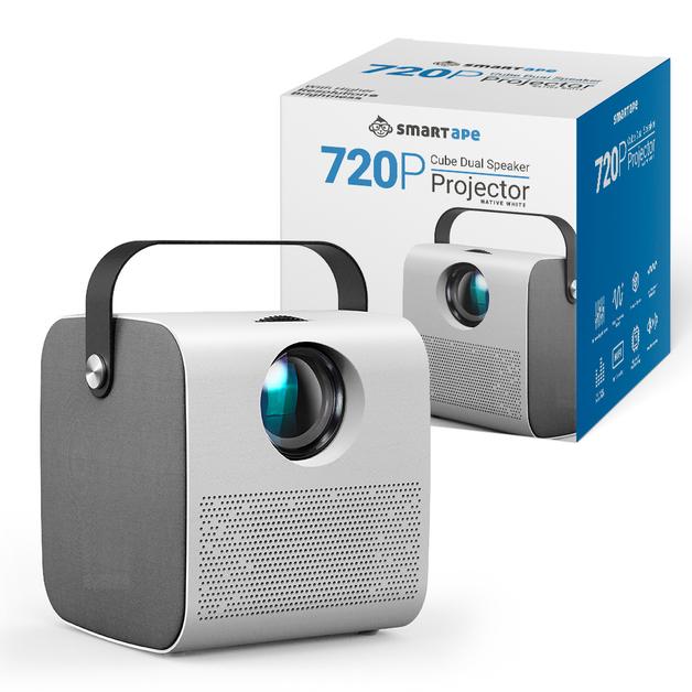 Smart 720p Cube Dual Speaker Projector - Native White