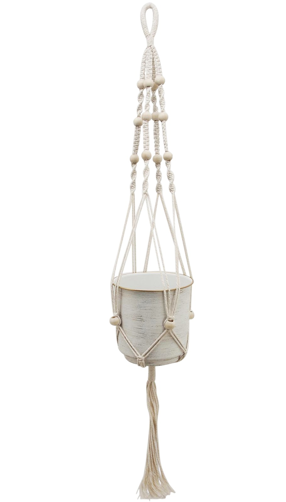 White Gold Beaded Hanging Planter image