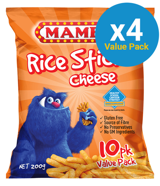 Mamee Cheese Flavoured Rice Sticks 200g (4 X 10 Packs)