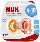 NUK: Soother - Pink/Yellow- Size 2 (2 Pack)