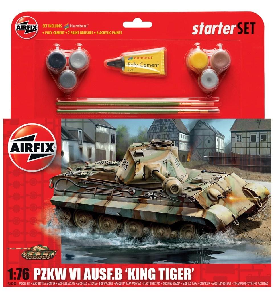 Airfix King Tiger Tank Starter Set 1/76 Model Kit image