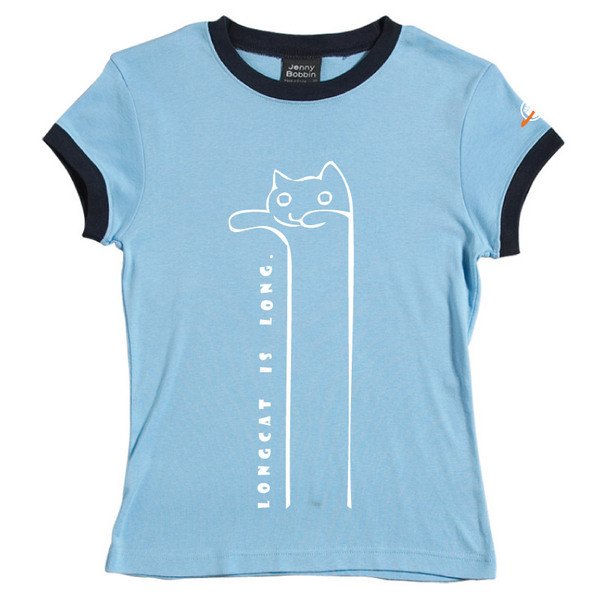 Longcat - Female Ringer Tee (Sky Blue) for