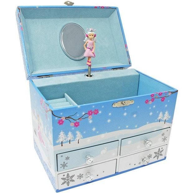 Pink Poppy: Snow Princess - Medium Music Box (Blue)