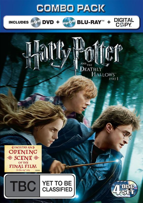 Harry Potter and the Deathly Hallows: Part 1 (4 Disc Blu-ray Combo: 2 Disc BD+DVD+Digital Copy) on DVD, Blu-ray, DC