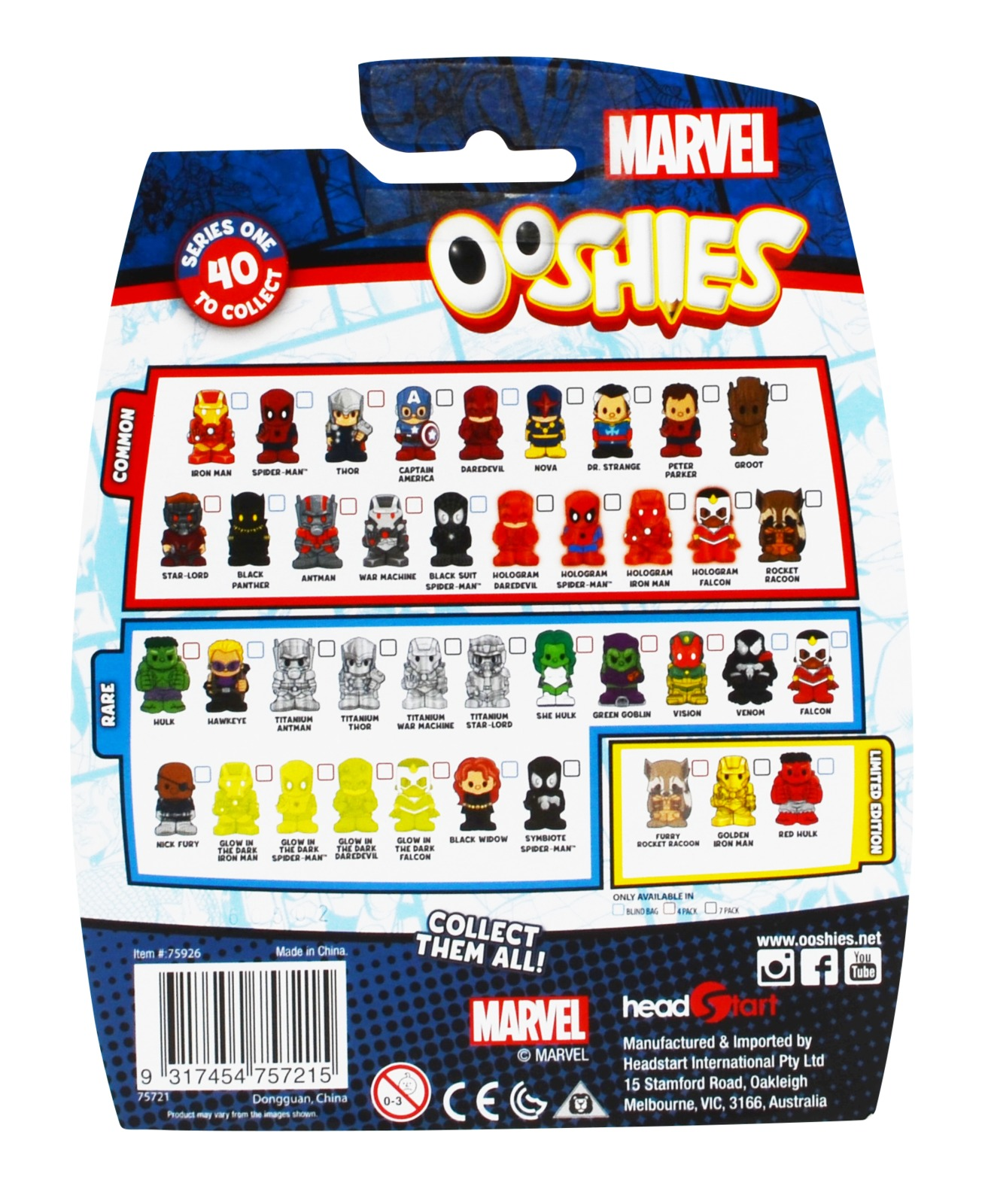 Ooshies Marvel 4 Pack Toy At Mighty Ape Australia