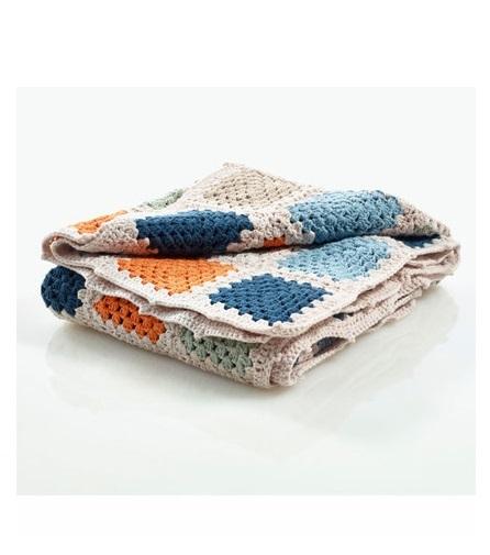 Pebble: Organic Crochet Granny Blanket - Blue