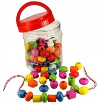 Fun Factory: Lacing Beads in Jar 90 Piece