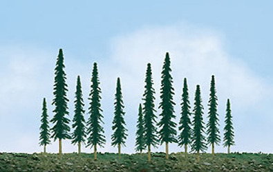 "JTT Scenic Conifer Trees 4""-6"" (24pk) - H0 Scale image"