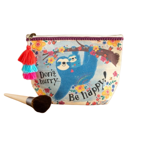 Natural Life: Canvas Cosmetic Pouch - Sloth Be Happy