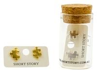 Short Story: Funky Play Earrings - Gold Jigsaw