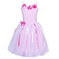 Pink Poppy: Floral Petal Dress (Size 5/6) - Pale Pink