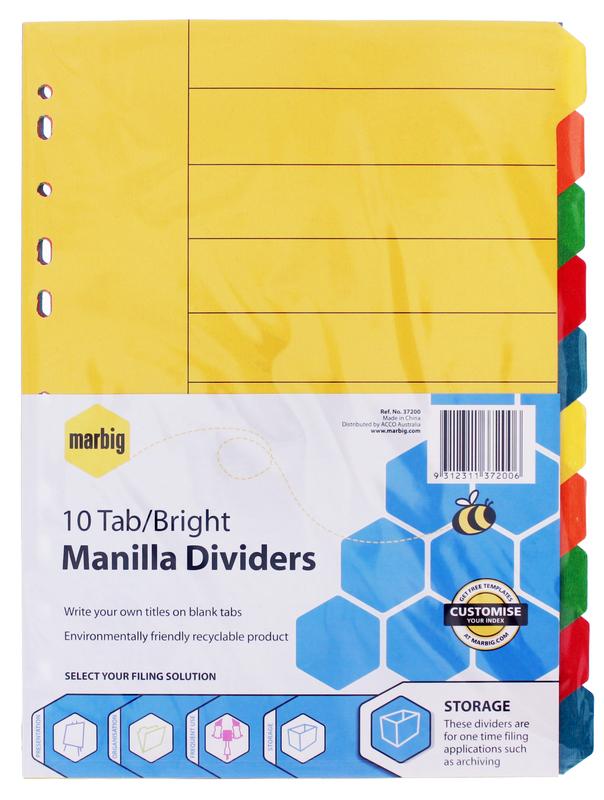 Marbig A4 Manilla 10 Tab Dividers - Brights