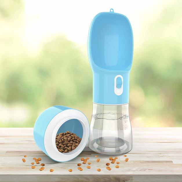 Pet Water Bottle With Snack Compartment - Blue