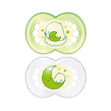 MAM Night Silicone Soother 4-24 Months - 2 Pack (Green)
