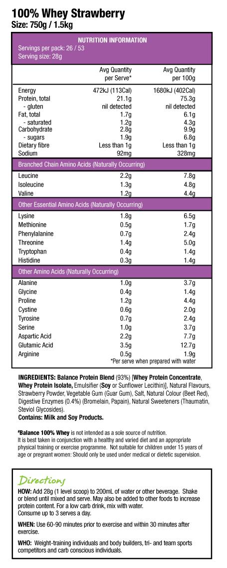 Balance: 100% Whey - Strawberry (1.5kg) image