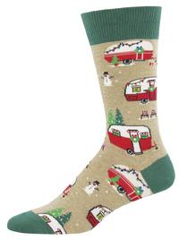 Men's Hemp Christmas Campers Christmas Crew Socks image