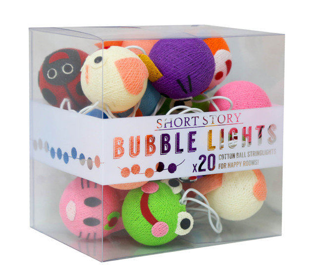 Cotton Ball String LED Lights - Animal Faces