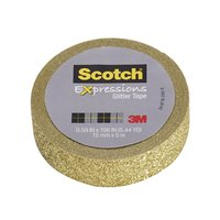 Scotch Expressions Glitter Washi Tape - Gold (15mm x 5m)