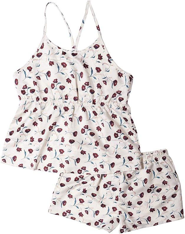 Elle: Ladies 2 Piece Racerback Peplum Tank w/ Shorts Set - Floral Print Gardenia (Large)