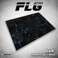 FLG Robot City Blue Neoprene Gaming Mat (6x4)