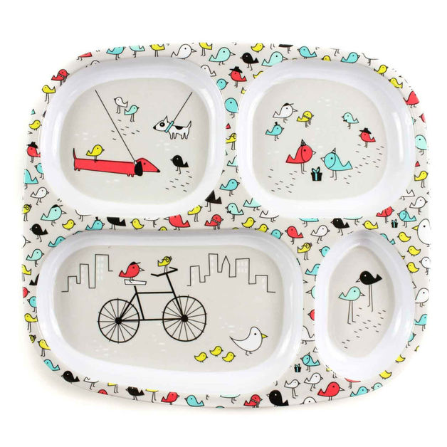 Bumkins: Melamine Divided Plate - Urban Bird