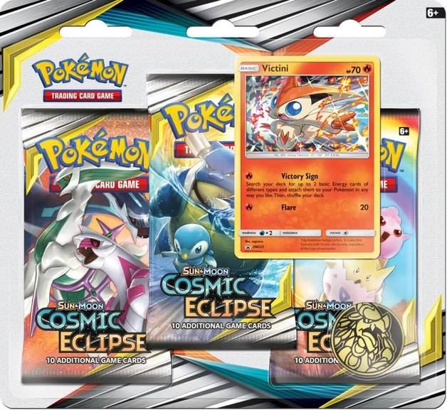 Pokemon TCG: Cosmic Eclipse Three Booster Blister- Victini