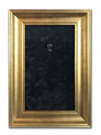 "Axe Heaven: Mini Guitar Display Frame - Black Suede/Warm Gold Leafing (12"" x 18"")"