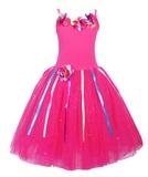 Pink Poppy: Rainbow Fairy Dress (Size 3/4) - Hot Pink