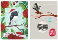 Tanya Wolfkamp: New Zealand Christmas Note Cards - Robin & Fantail (Pack 8) image