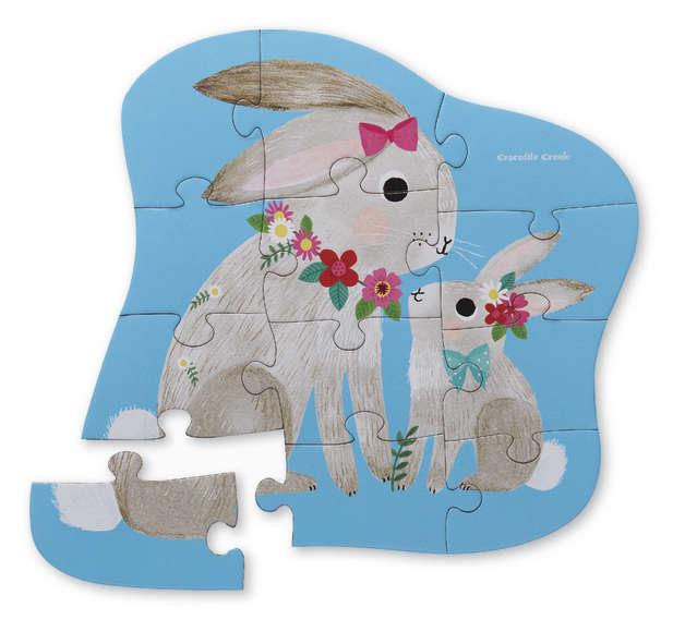 Crocodile Creek: Mini Shaped Puzzle - Bunny Love (12pc)