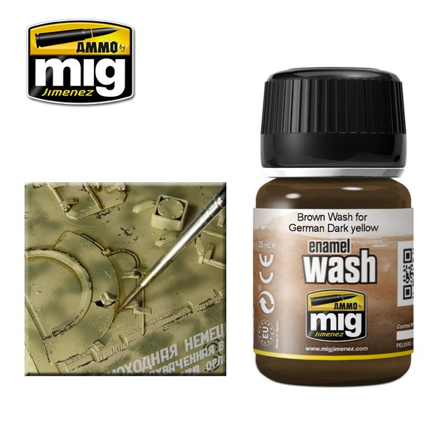 Ammo of Mig Jimenez Brown Wash For German Dark Yellow (35ml)